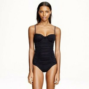 J. Crew Tulle Ribbed Black One-piece